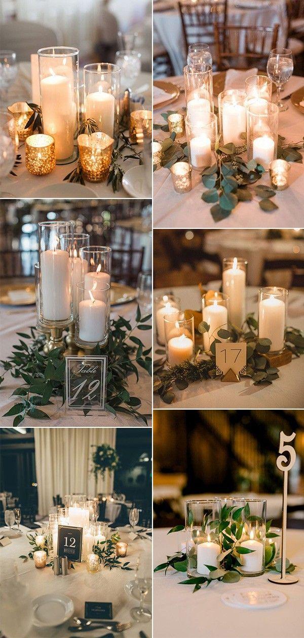 20 idées de pièce maîtresse de mariage simple et économique avec des bougies