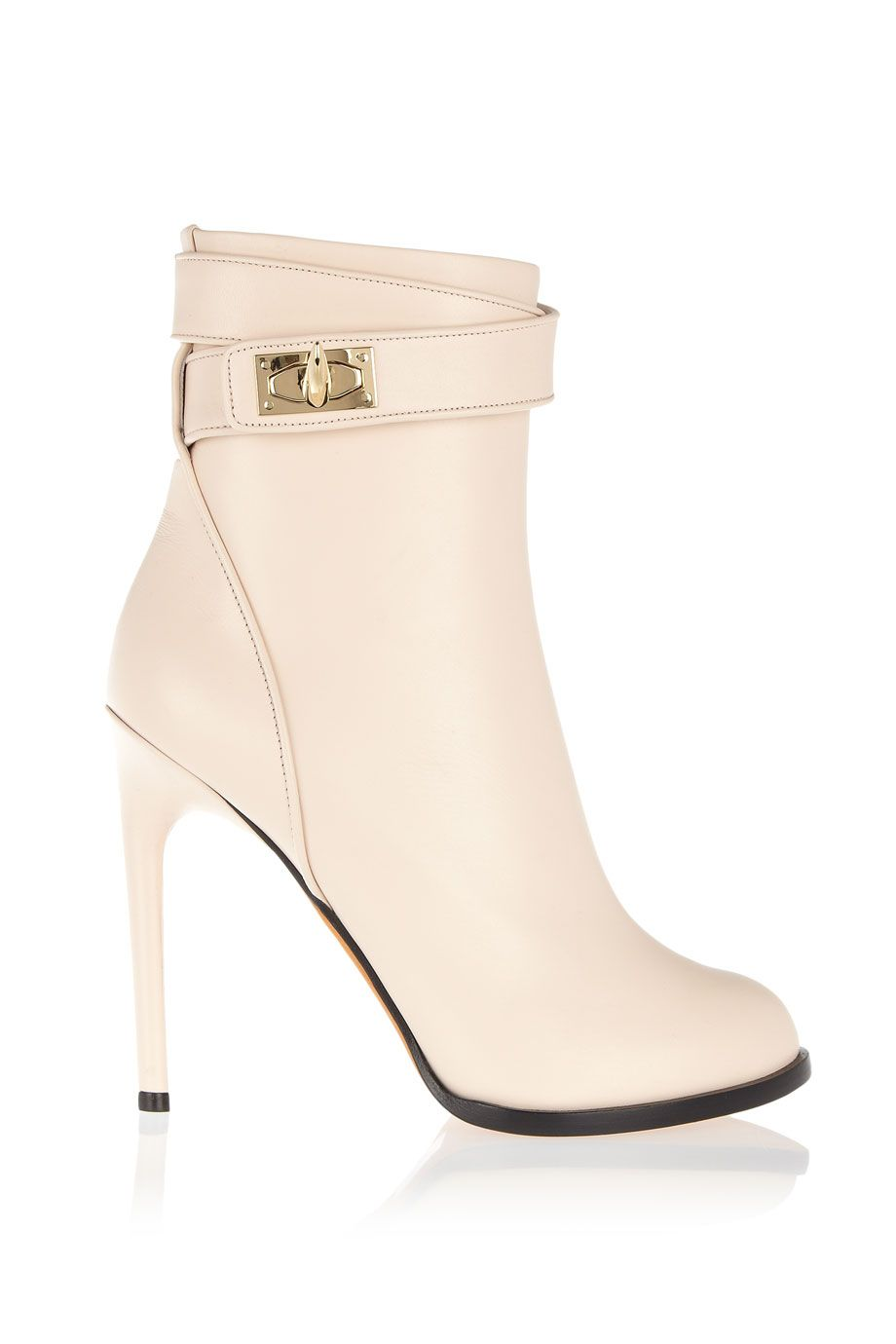 Givenchy|Shark Lock ankle boots in pale blush leather|NET-A-PORTER.COM