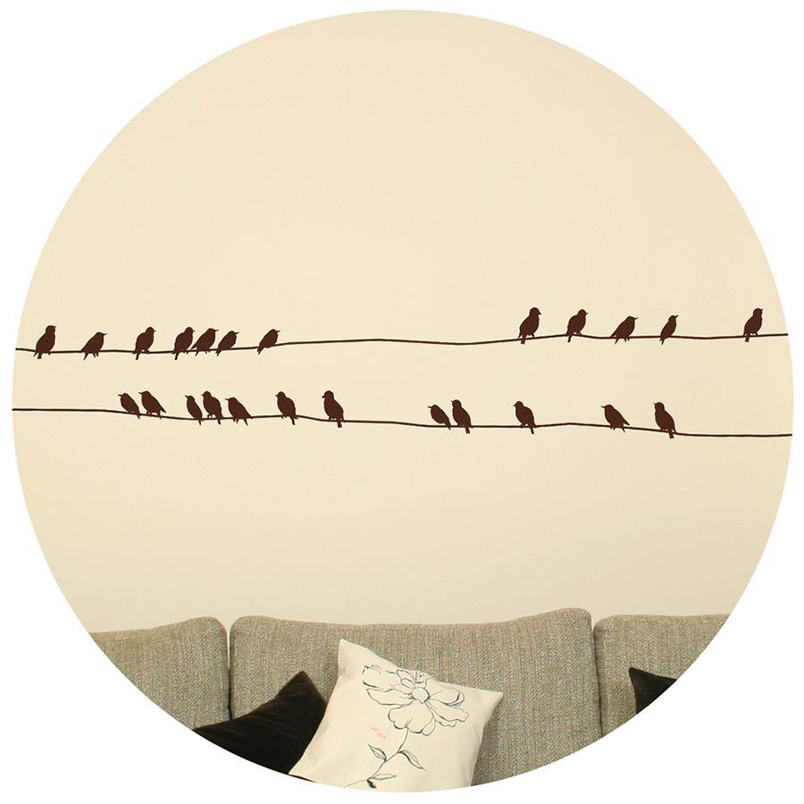 Sticker Oiseaux Sur Un Fil pegatinas oiseaux sur un fil | stickers oiseaux, stickers muraux