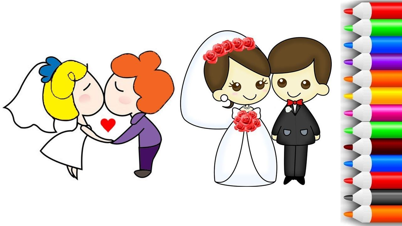 Little Cute Bride And Groom Coloring Page How To Draw Groom