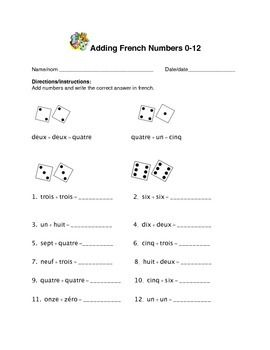 Adding French Numbers 0 12 Assessment Learn A New Language French Numbers Memory Strategies