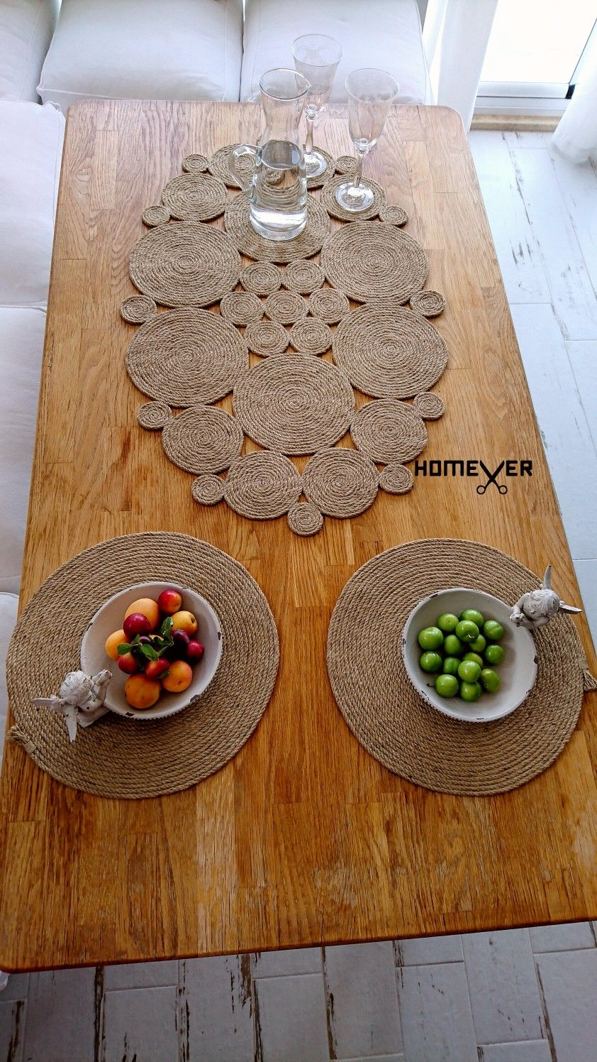 Farmhouse Placemats Set Rustic Table Mats Set Christmas Etsy Rope Decor Placemats Macrame Wall Hanging