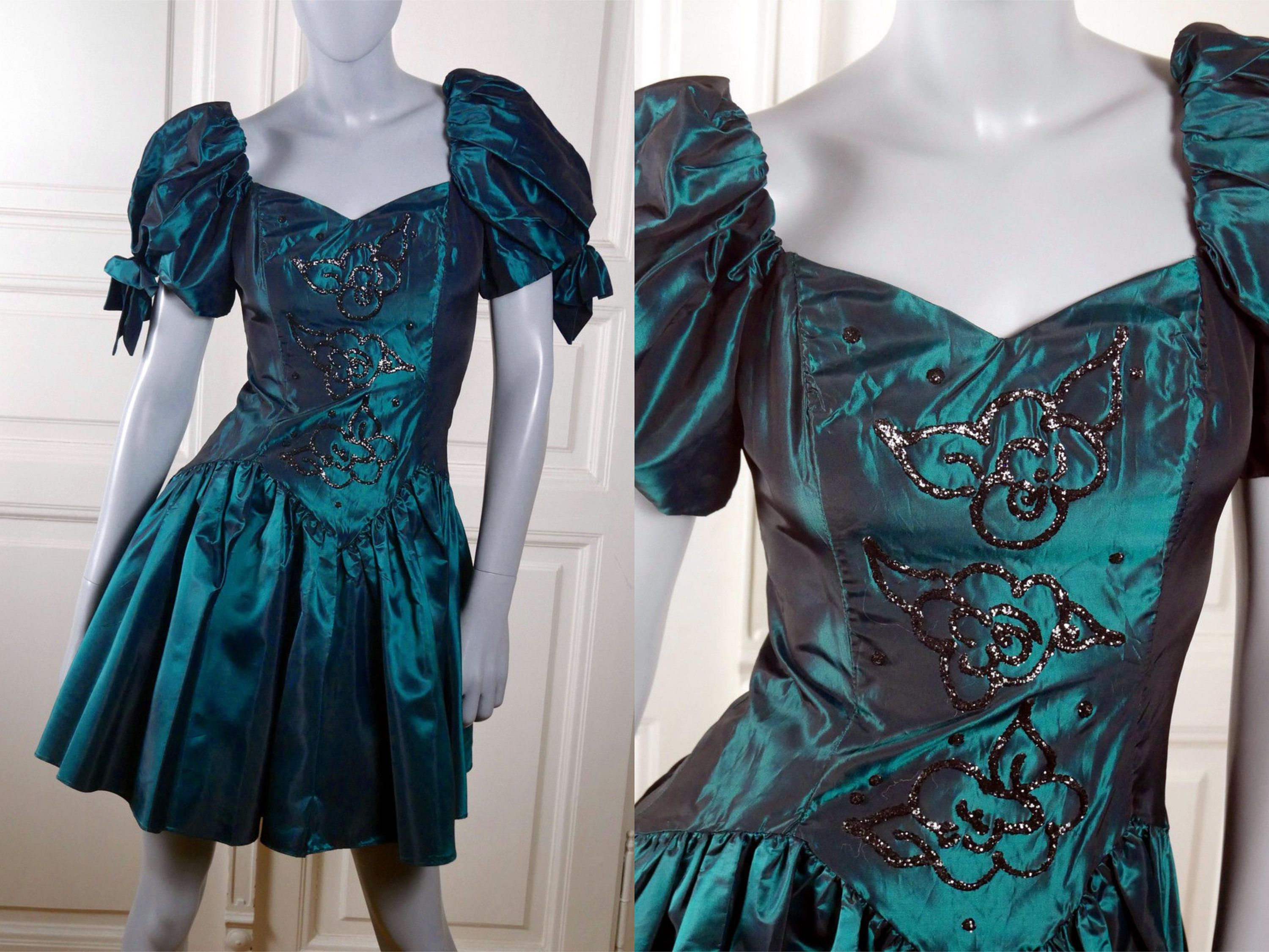 Vintage prom dress american vintage peacock blue evening dress