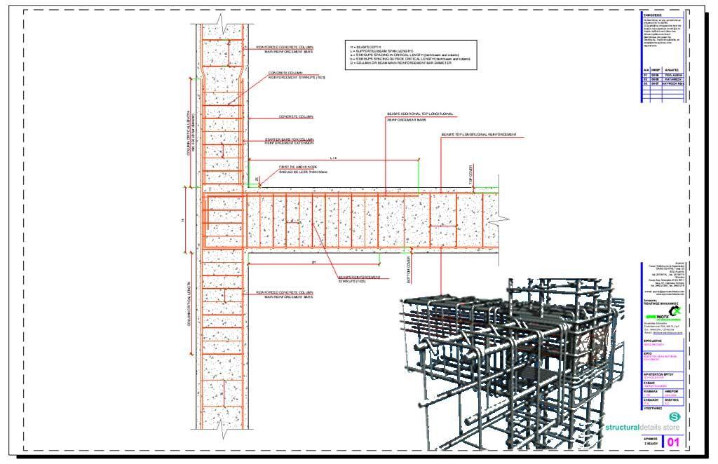 Reinforced Concrete Beam Column End Support Detail Concrete Column Reinforced Concrete Concrete Retaining Walls