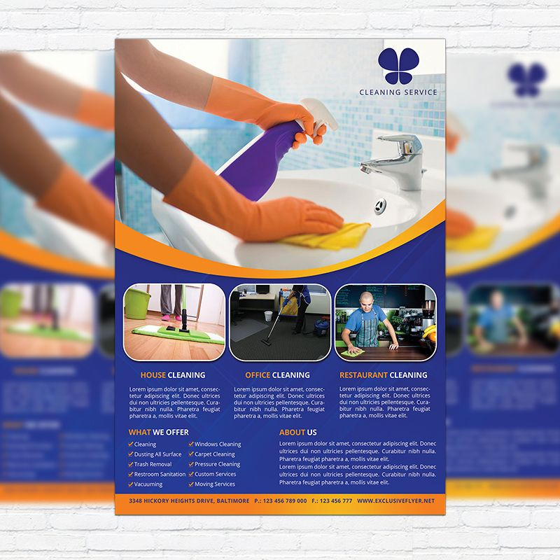 Cleaning Services - Premium Business Flyer PSD Template   - house cleaning flyer