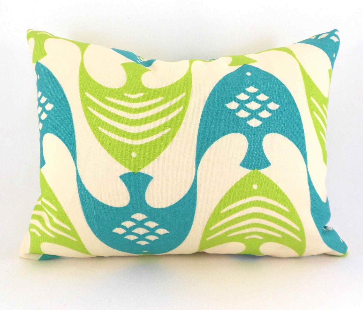 Fish Lime Teal Lumbar Back Support Indoor Outdoor Pillow Form Included. $25.00, via Etsy.