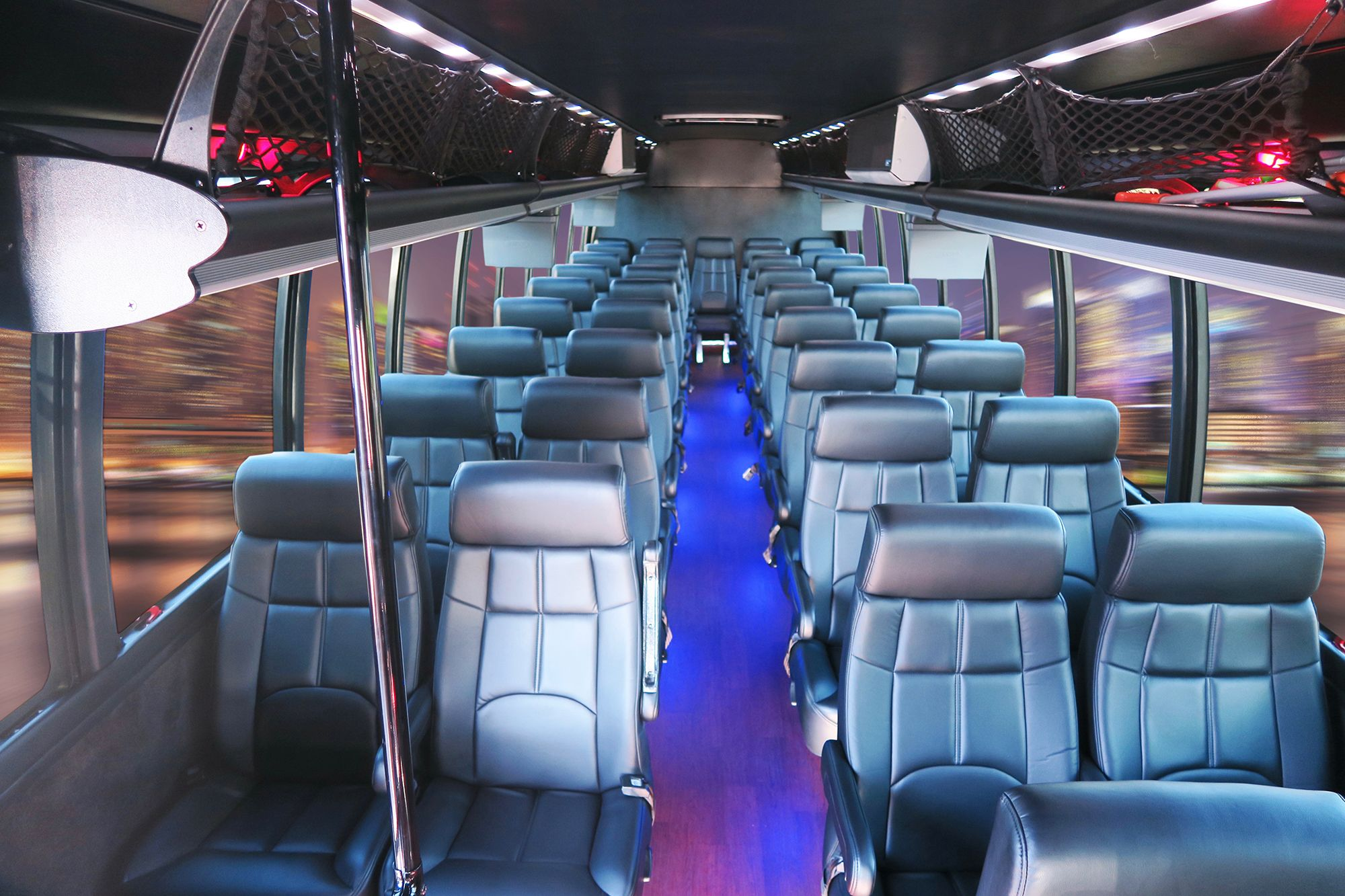 e09b286f9a Executive Coach Bus Seats 39 Passengers. Ideal for Large Corporate Groups  or Wedding Shuttle. Reclining Leather Seats with Armrests