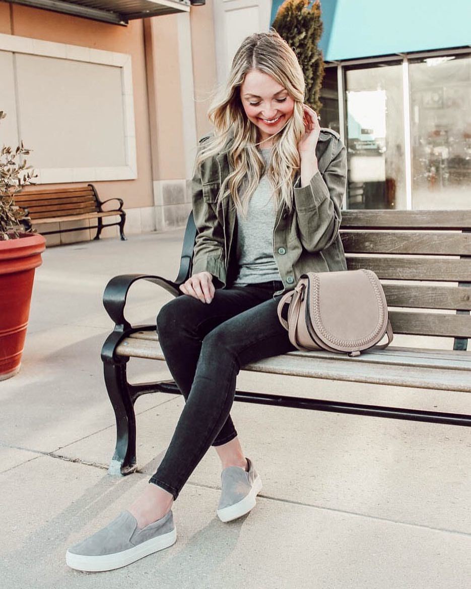 Outfit ideas Spring outfits military jacket dark