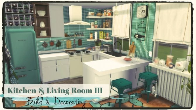 Kitchen & Living Room III (Build & Decoration) at Dinha Gamer via Sims 4 Updates