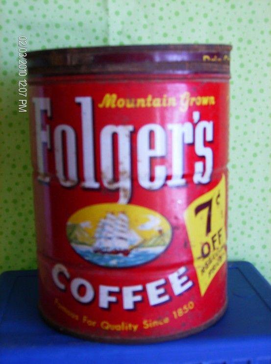 Folgers Coffee Tin by VINTAGEKARLACREATES on Etsy $8 00