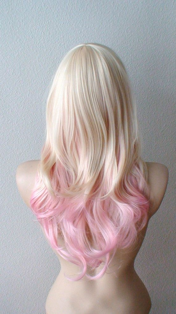 Blonde Pink Ombre Wig Pastel Pink Hair Curly Hairstyle With Long