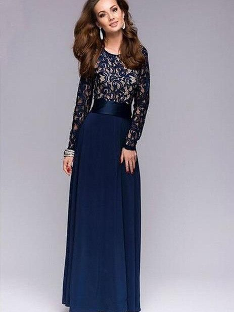 Sisjuly Women Summer Dress Chiffon Lace Maxi Dress Floor Length ...