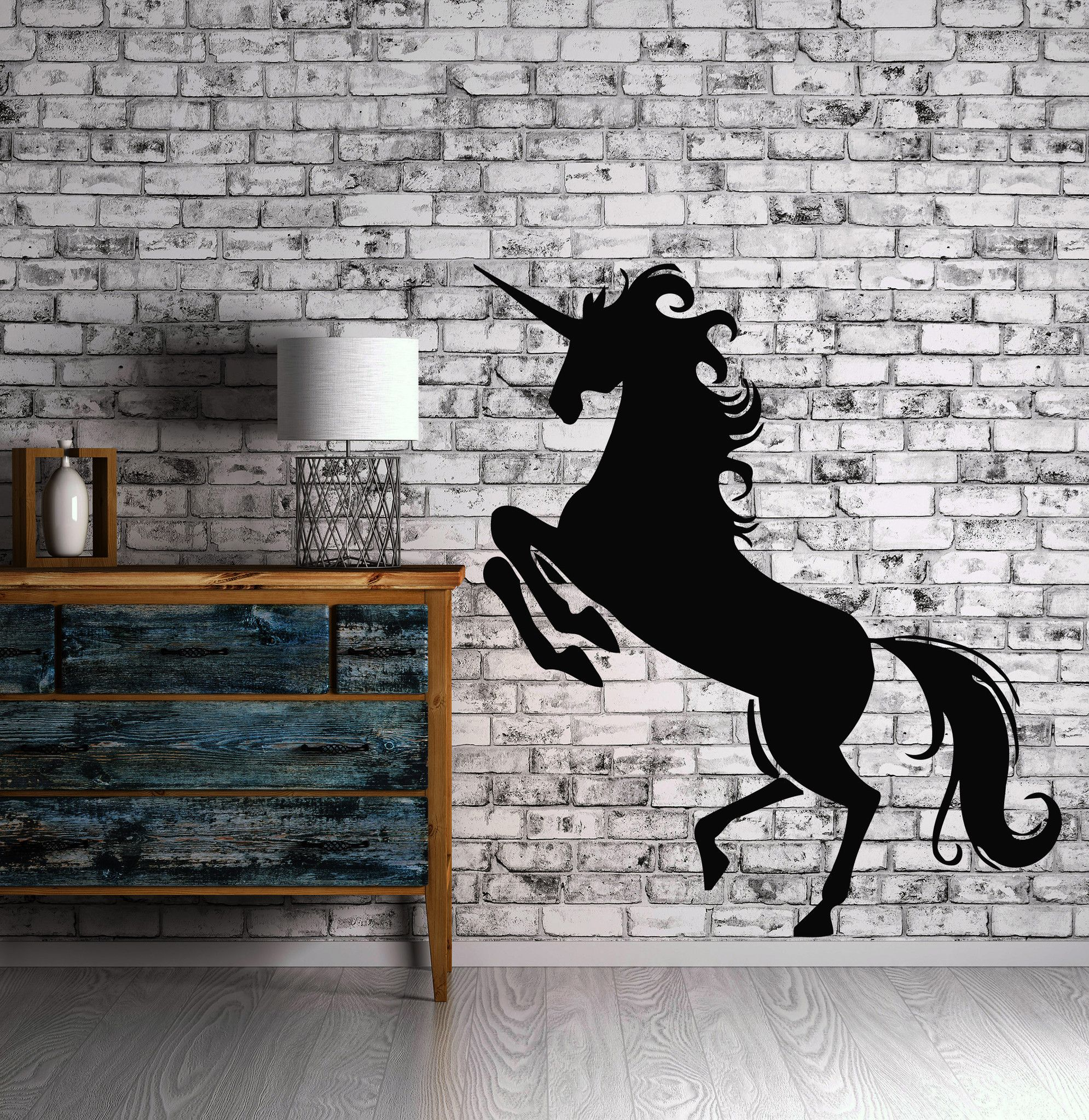Heraldy middle ages animal unicorn wall art decor vinyl sticker z