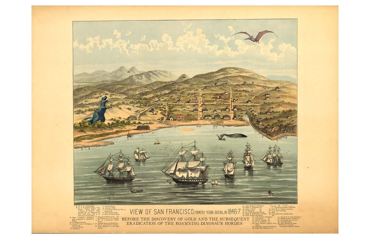 San Francisco Map Paper%0A A view of prehistoric San Francisco in       before the gold rush hunted  dinosaurs to