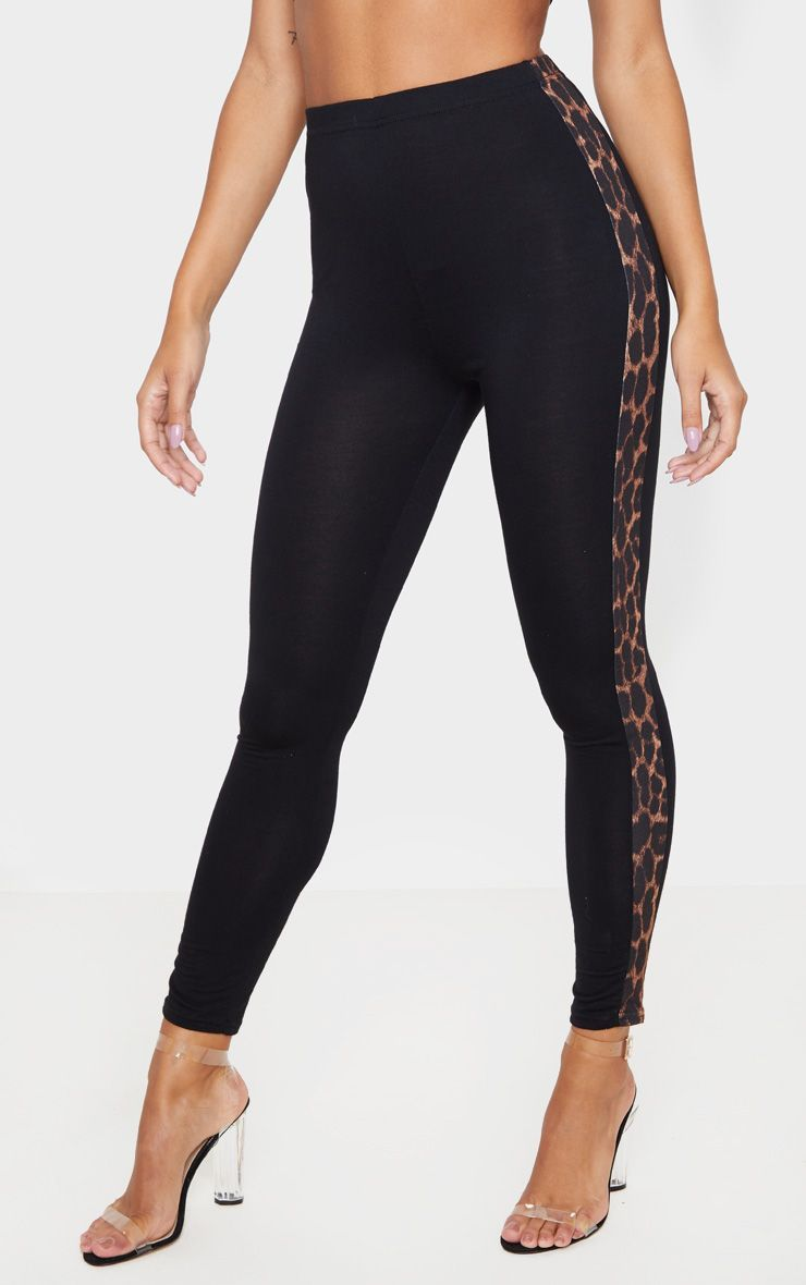 Black Leopard Side Stripe Leggings #stripedleggings