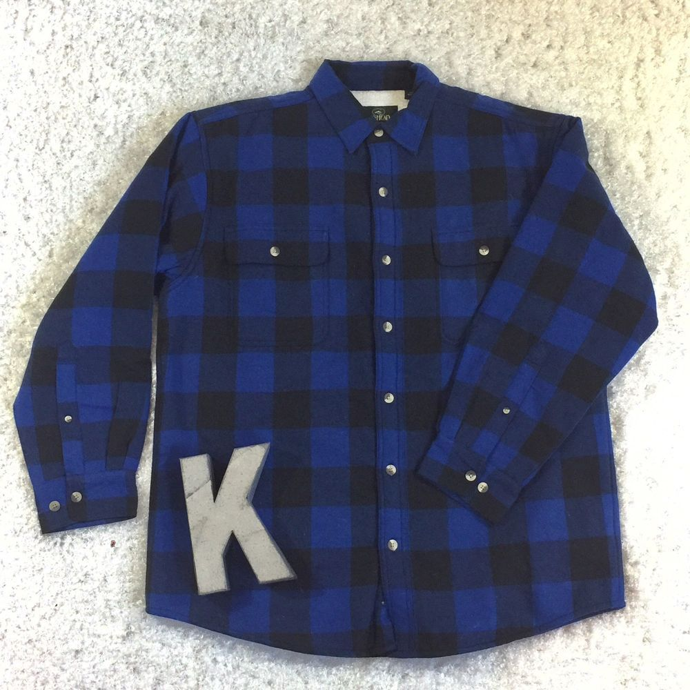 Red plaid flannel jacket  Blue Buffalo Plaid Flannel Shirt Jacket by Red Head Size Large