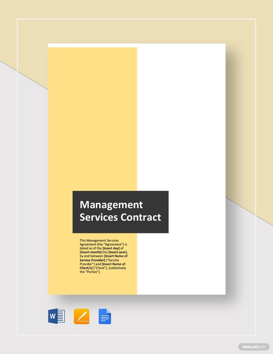 Managed Services Contract Template Word Doc Google Docs Contract Template Templates Contract