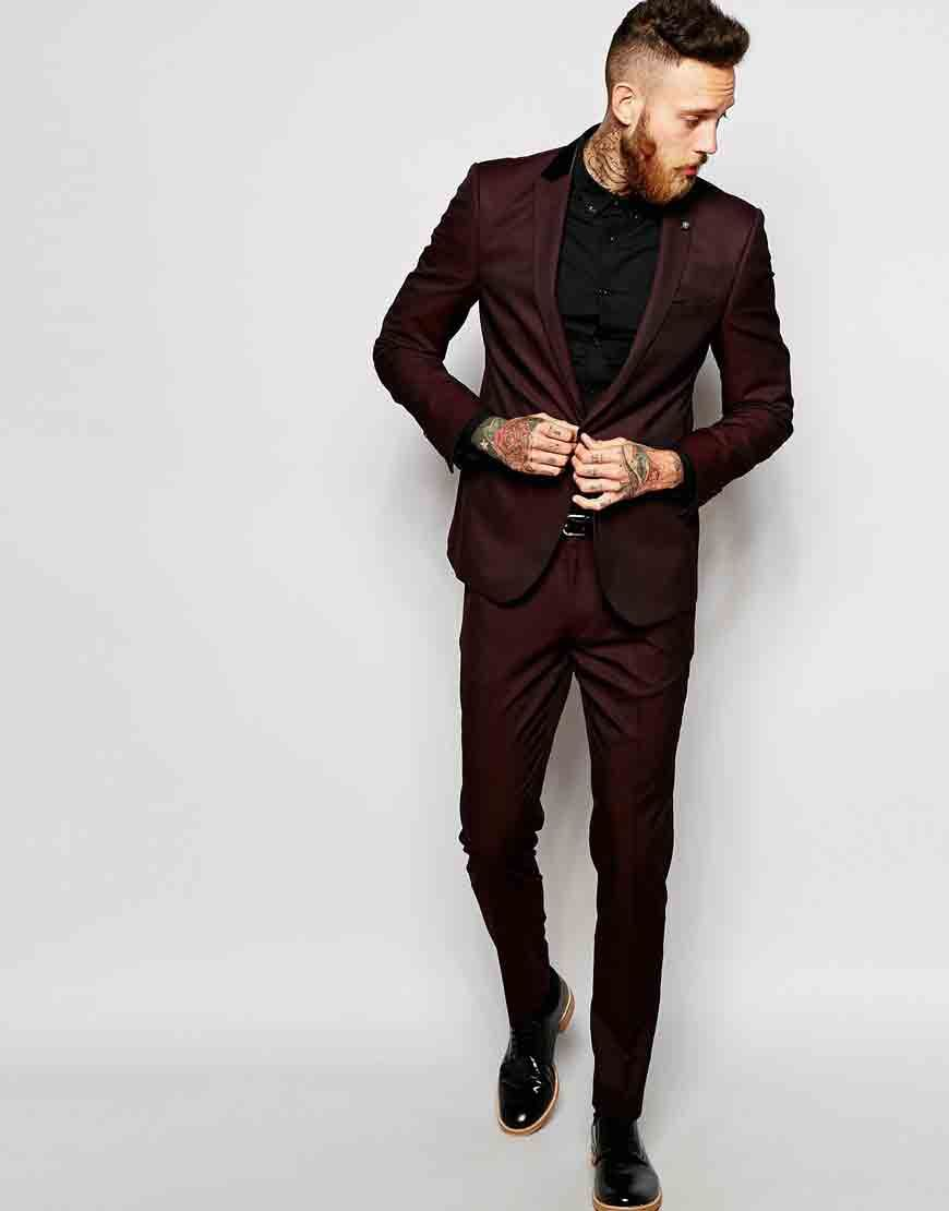 Image 1 Of ASOS Slim Suit In Burgundy Tonic Men Outfits