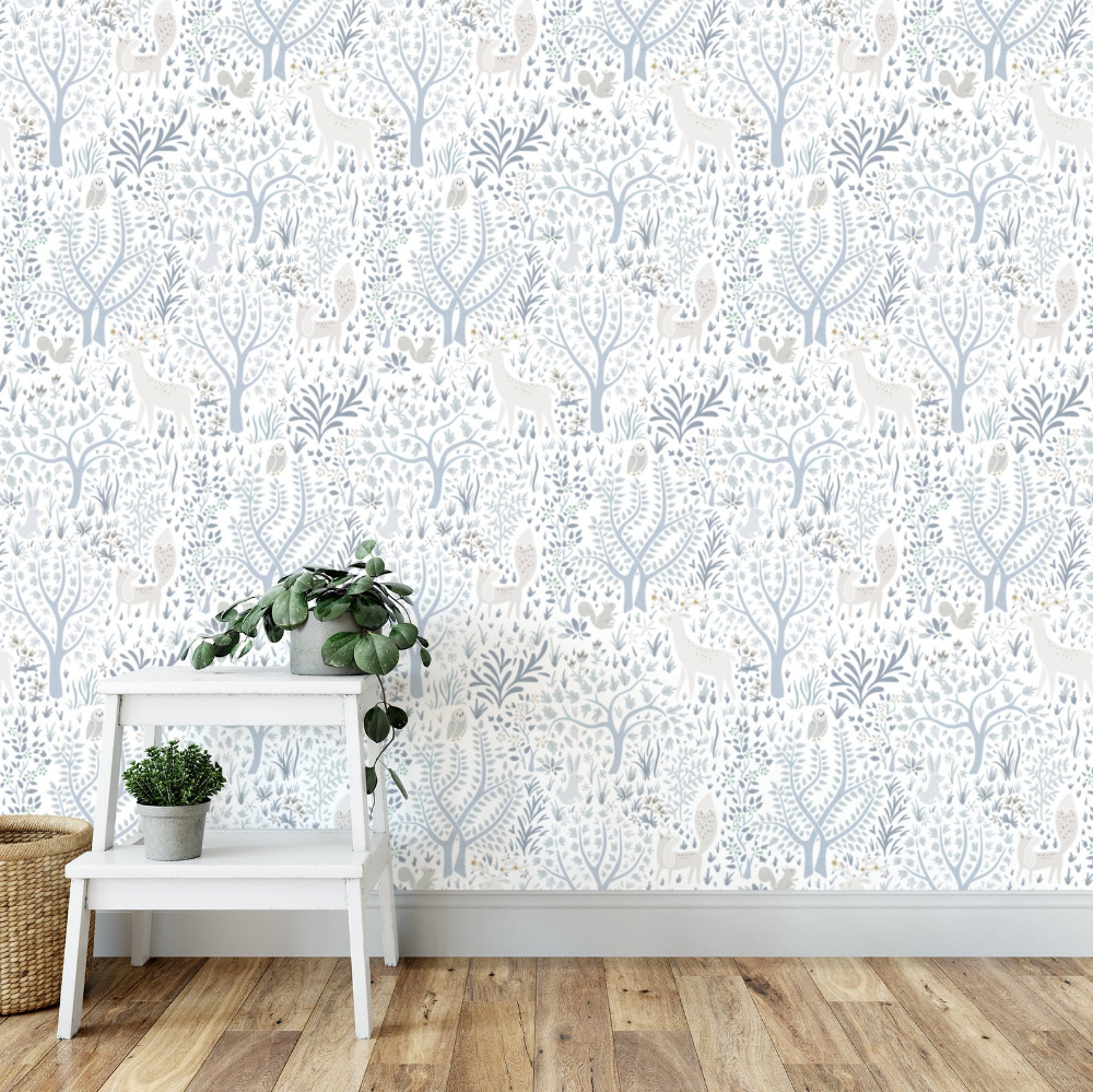 Light Woodland Forest removable wallpaper / Nursery