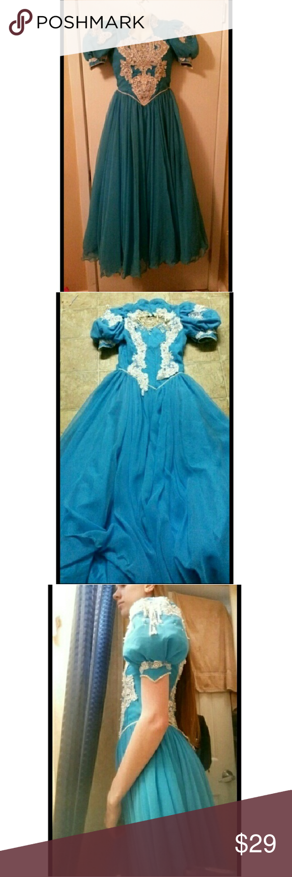 Embroidered Fancy Ball Gown / Quinceañera Dress I don't know much at all about it. It doesn't have a tag. I believe it's handmade. I don't know the size, but I wear size 0 - 2 in dresses and it fits me.  Could be a ball gown, Quincea?era dress, 80s style prom dress,  etc  There's lots of beads sequins,  rhinestones,  & embroiderey on the front, back & sleeves. The sleeves are poofy at the top, then skinny & pointed at the bottom. Some of the beads / sequins are loose. Dresses Prom
