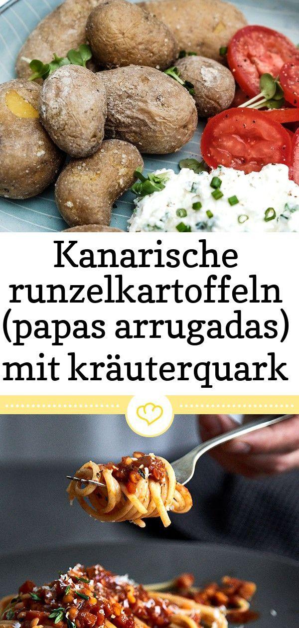 Kanarische runzelkartoffeln papas arrugadas mit kräuterquark 8 Rezept Papas Arrugadas  Kanarische Runzelkartoffeln mit Salzkruste Kräuterquark und Tomaten Veget...