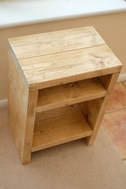 Rustic Wood Bedside Table: Rustic Scaffolding Wood Bedside Table