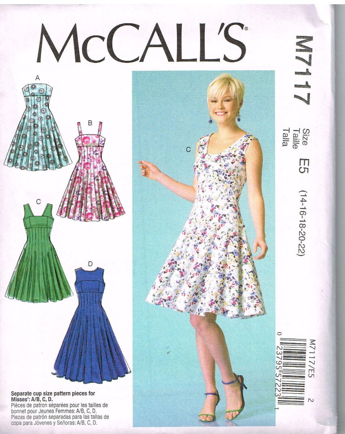 McCall\'s M7117, Home Sewing Pattern, Misses\' Dresses, Size 14, 16 ...