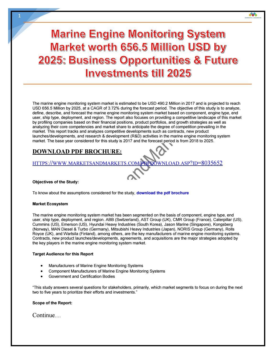 Marine Engine Monitoring System Market Worth 656 5 Million Usd By 2025 Engineering Marketing System