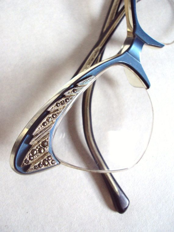 Petrol blue 1950s marcasite cat eye spectacle frames - RESERVED for Corinna