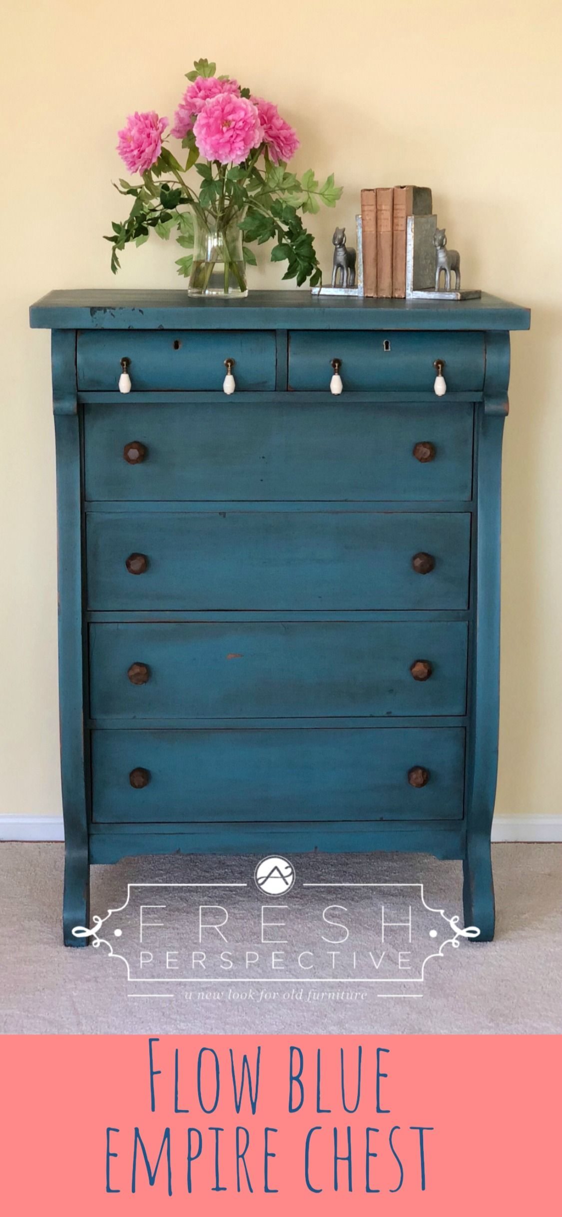 Antique Empire Chest Painted In Miss Mustard Seed Flow Blue Milk Paint