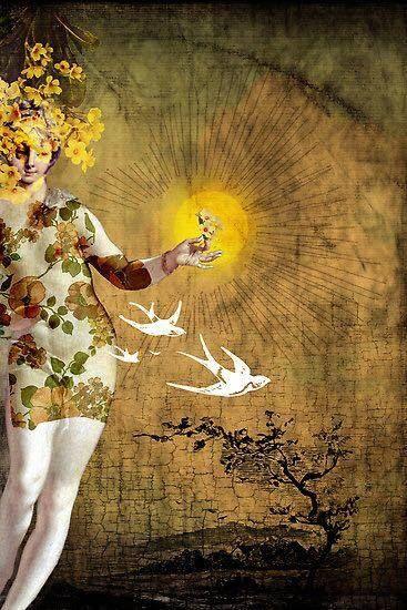 Faith is the bird that feels the light when the dawn is still dark. ~ Rabindranath Tagore ~ Artwork by Catrin Welz-Stein