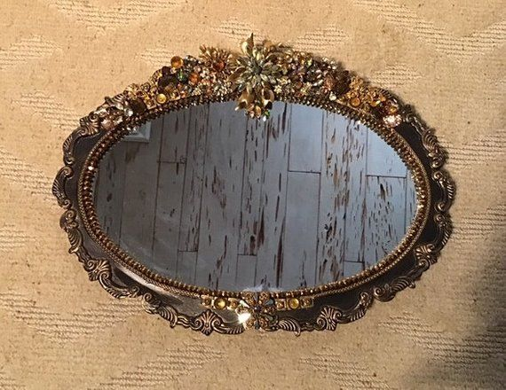 Mirrored silver plate tray refinished in bronze, wall or ...