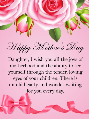 I wish you all the joy happy mothers day card for daughter happy mothers day card for daughter daughters are the joy of motherhood share this beautiful mothers day card with your sweet daughter today m4hsunfo