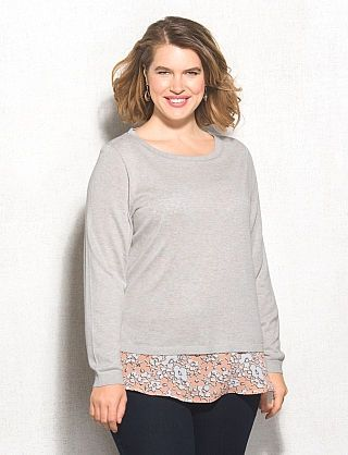 d16d24b6456edf roz & ALI™ Plus Size Layered Floral Sweater | My Style | Floral ...