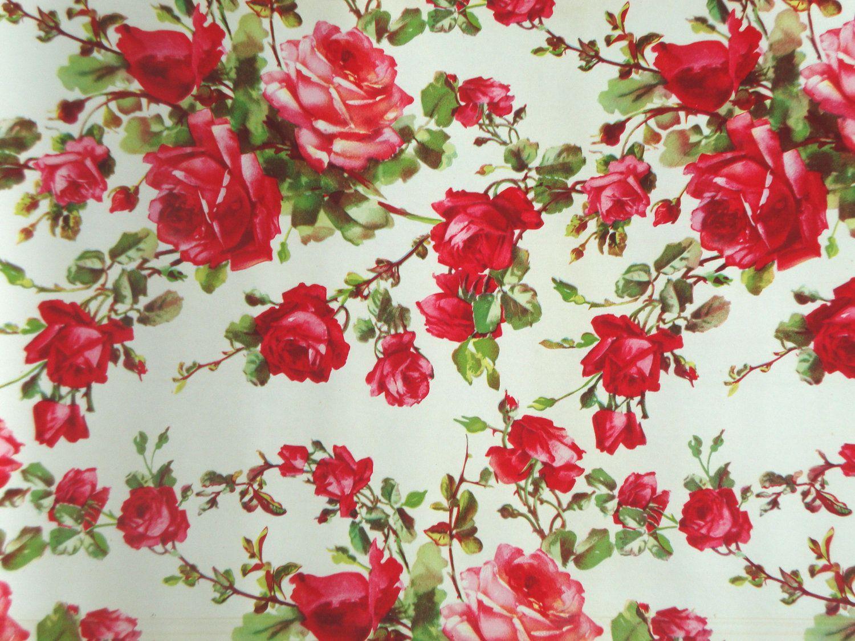 vintage flowers | Vintage ROSES Shelf Liner Paper Floral Flowers by IWANTVINTAGE Flower Backgrounds, Vintage