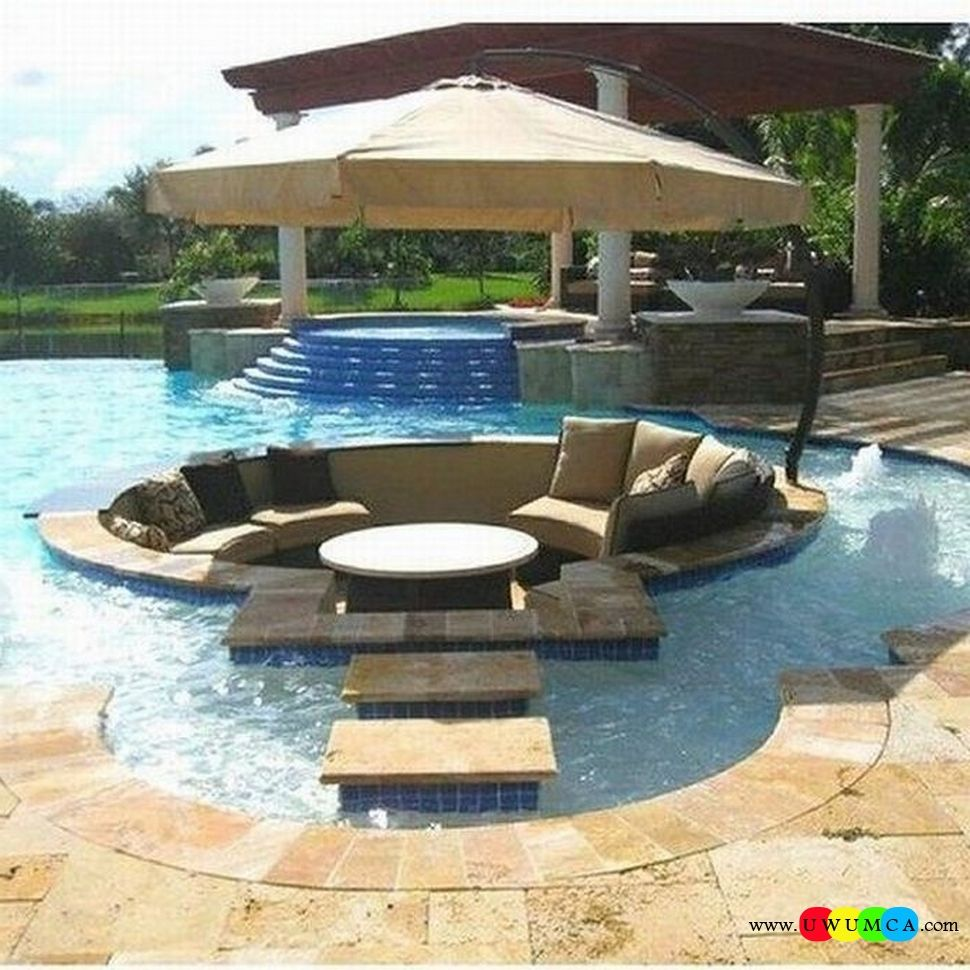 Outdoor gardening create outdoor lounge with sunken for Outside pool designs