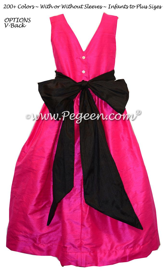 6f86478ba8 Hot pink and black silk flower girl dresses
