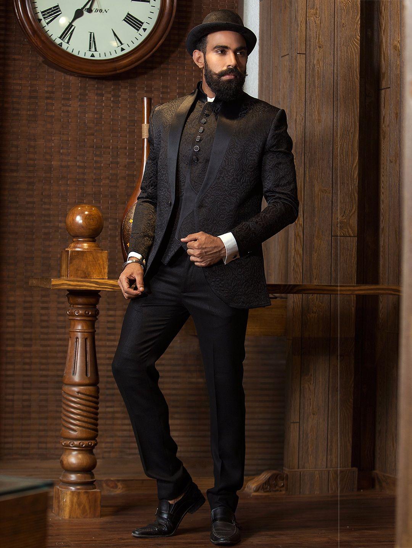 5d2b1eb526 Alluring Black Terry Rayon Stylish Coat Suit Tuxedo Suit, Buy Tuxedo,  Wedding Sherwani,