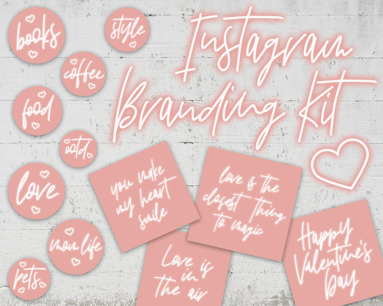 Instagram Highlights Pink Neon Sign Heart Branding Kit