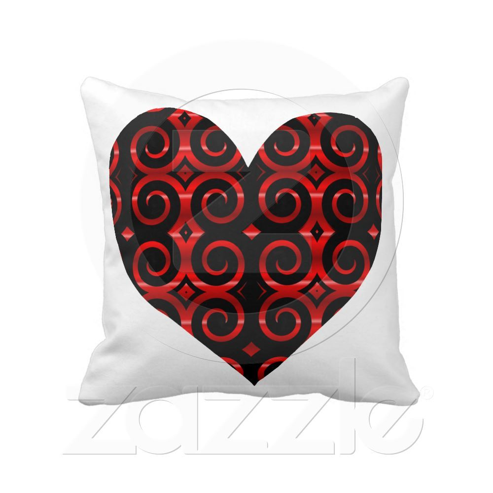 Distinctive Black Swirls On Red Heart Distinctive Black Swirl Pattern Against A Vibrant Duo Tone Red Background Custom Pillows Soft Pillows Pillow Pattern