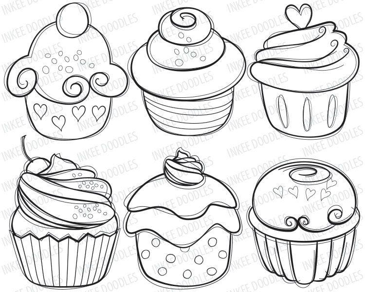 Cupcake Digital Stamps cherry cream cupcakes hand by InkeeDoodles ...
