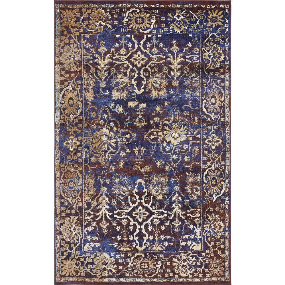 Unique Loom Augustus Milan Dark Blue 5 0 X 8 0 Area Rug 3136124 Blue Area Rugs Area Rugs Floral Area Rugs