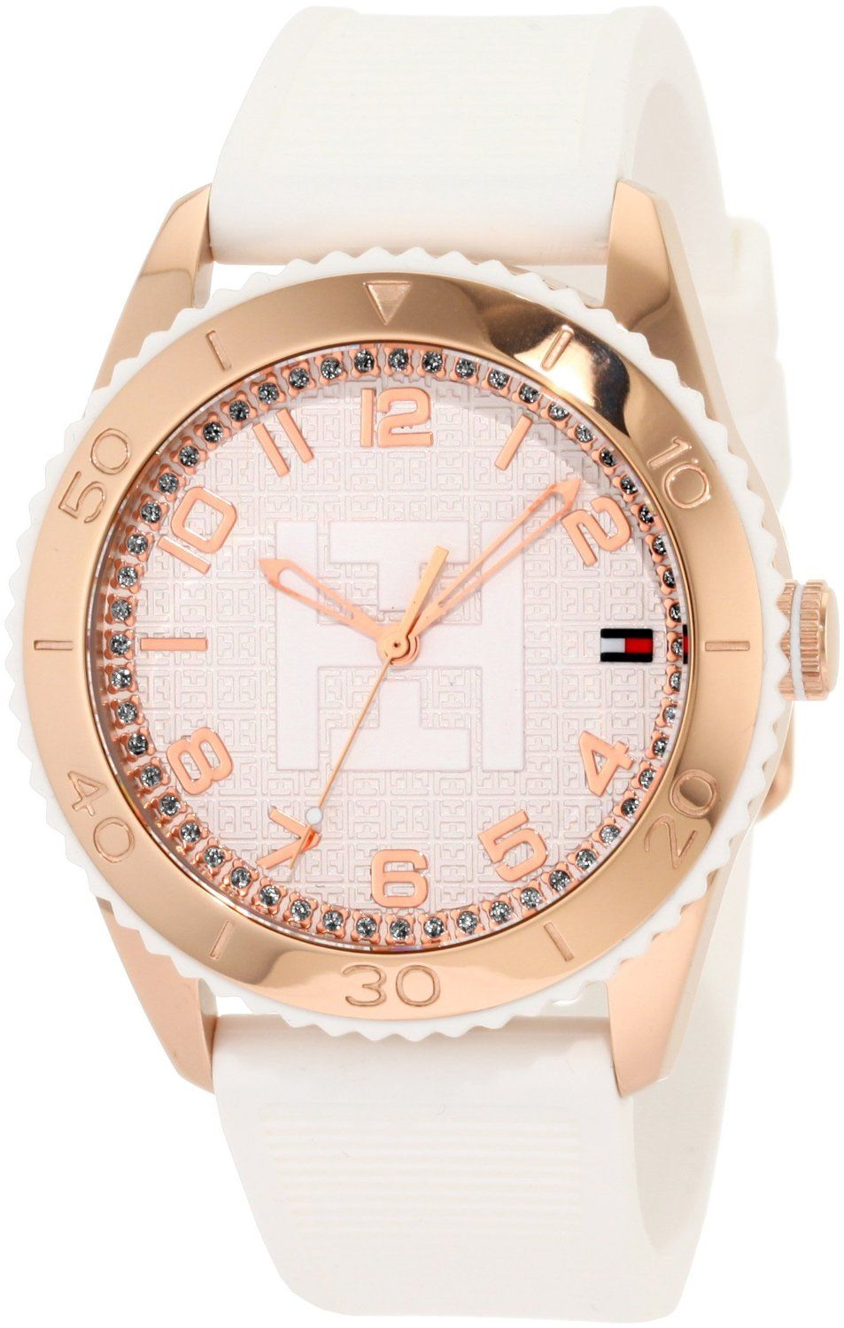 Tommy Hilfiger Women's 1781121 Sport Rose Gold Toned White