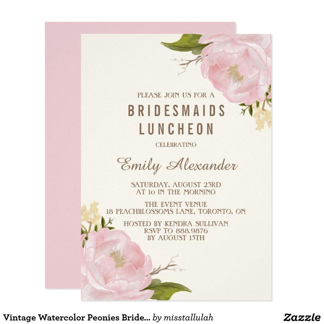 Vintage Watercolor Peonies Bridesmaids Luncheon | WEDDING: BRIDAL ...