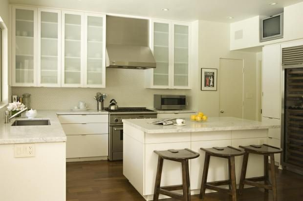 Modern Off White Kitchen white cabinets with granite countertops |  , modern kitchen
