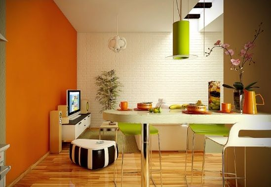 Orange Feature Wall With Off White Opposing Walls Interior Design Dining Room Orange Dining Room Dining Room Design