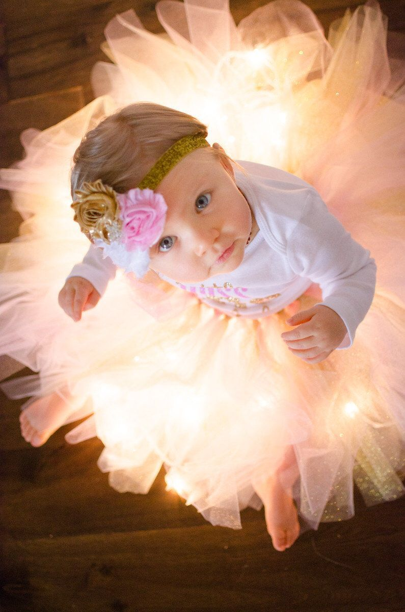 Items similar to Pink and gold first birthday shabby headband, pink gold white birthday headb...