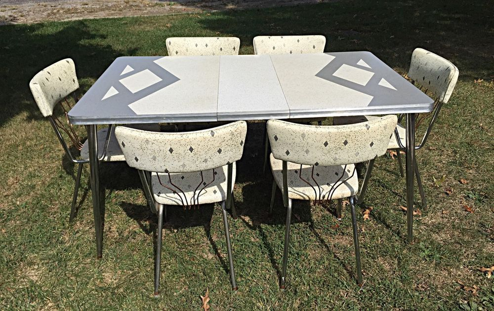 mid century modern vintage atomic formica kitchen table