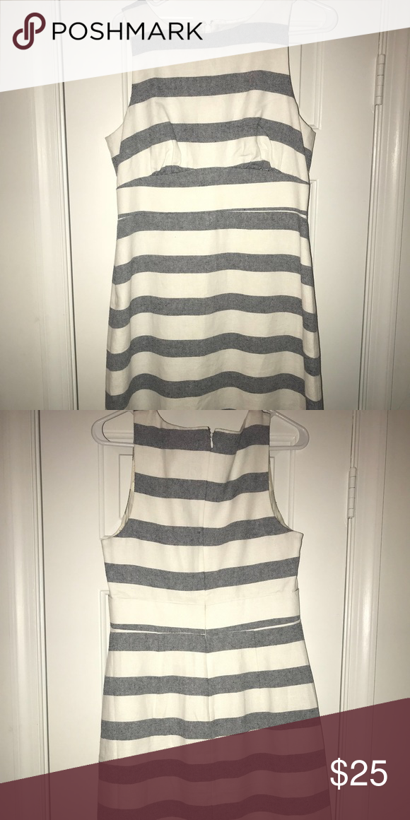 Women s JCrew Dress Gray and white stripped dress - perfect for work during  spring summer! Only worn twice and in excellent condition. 825c52419