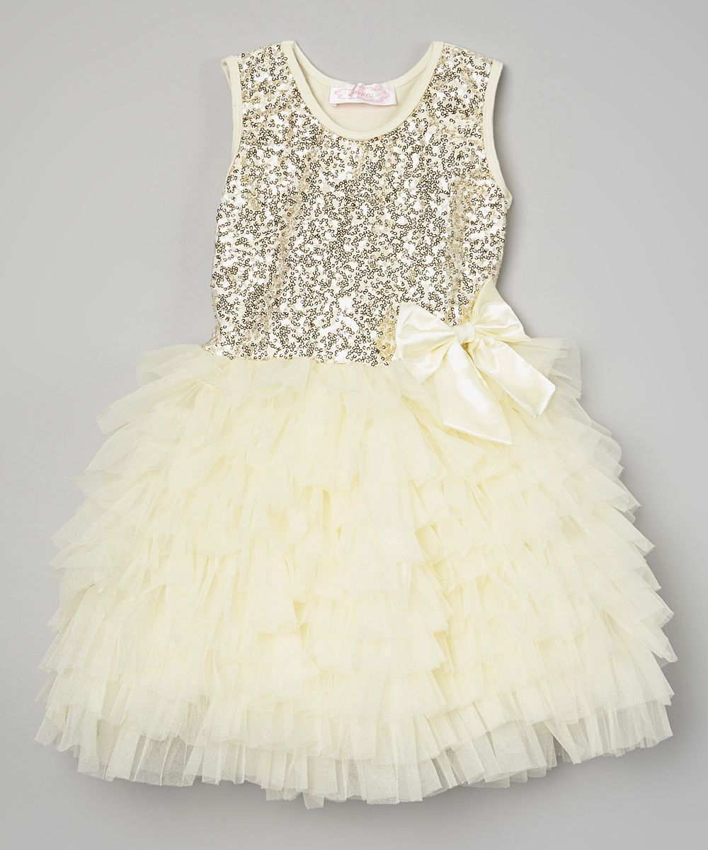 6b85db1afdf0 Popatu by Posh Cream Sequin Ruffle Dress - Infant, Toddler & Girls   zulily